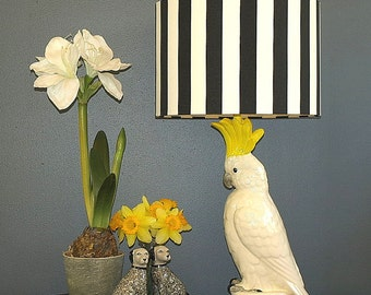 Extra Large Australian Made Lamp Shade Black & White Stripe, 2 sizes, 2 Fittings, Made to Order 1-2 weeks