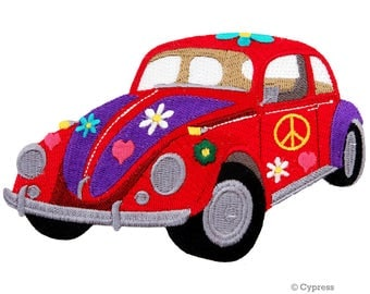 FLOWER POWER peace patch iron-on embroidered car automobile VW Bug Beetle emblem applique