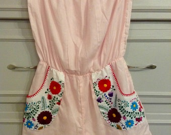 Pink strapless embroidered pockets romper
