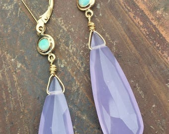14k & 18k lavender chalcedony long faceted briolette earrings w/Australian opal