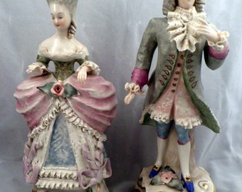 Pair of Cordey Cybis Figurines in 18th Century Dress, Pastel Colors, Porcelain, Made in USA