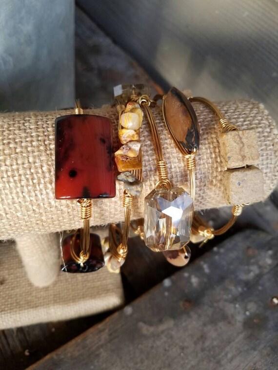Neutral Gemstone Bangle Stack, gemstone jewelry, bangles, neutral jewelry, agate bangles, agate jewelry, handmade, stack stone bangles