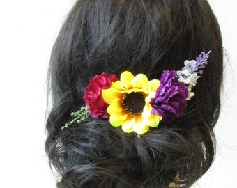 Sunflower Rose Carnation Lavender Flower Hair Comb Leaf Purple Yellow Red 1575