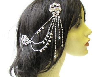 Silver AB Diamante Hair Comb 1920s Flapper Rhinestone Headpiece Vintage 30s 2082