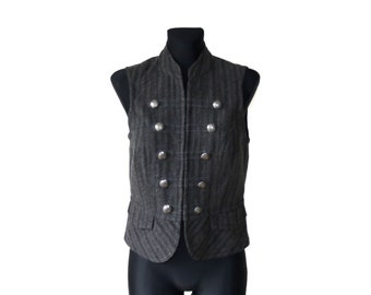 Women's Striped Black Gray Vest S/M Size Waistcoat