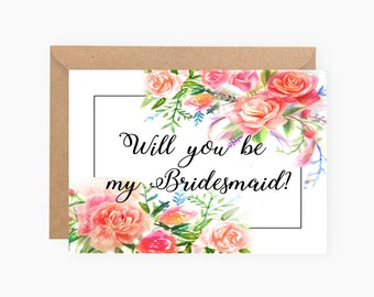Will you be my bridesmaid card, will you be my bridesmaid printable, will you be my bridesmaid card printable, bridesmaid cards, proposal