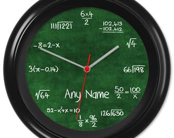 Maths Clock Teacher Student Pupil Equation Chalkboard Blackboard Greenboard Classroom #4 - Can be personalised (2067)
