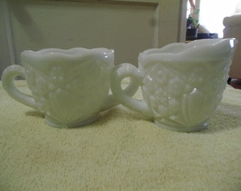 Vintage Cut Milk Glass Sugar and Creamer set