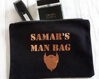 Men's toiletry bag, shaving kit, shaving bag, man bag, father's day gift, gift for dad, copper men's gift, personalised men's gift, beard