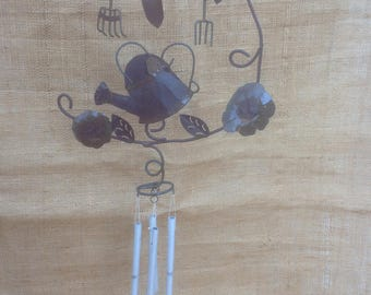 Gardening Wind Chime Metal Vintage with Watering Can