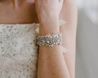 Silver Bridal Cuff | Crystal Wedding Cuff | Crystal Bridal Bracelet | Rhinestone Cuff Bracelet | Lydia Bridal Cuff