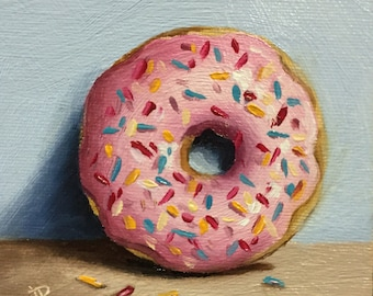 Little Pink Donut, Original Oil Painting still life by Jane Palmer