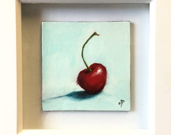 Cherry framed original oil still life painting by Jane Palmer
