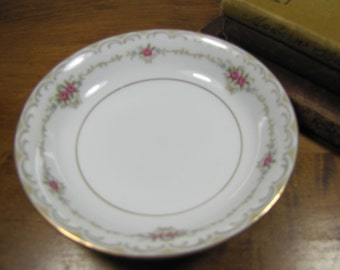 Style House Fine China - Princess Pattern - Dessert Bowl - Berry Bowl - Pink Flowers - Tan Scrolls