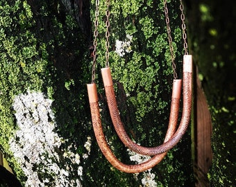 Mandala etched copper tube long necklace, long, copper chain, boho, bohemian , love, organic, nature, love, peace, tranquility