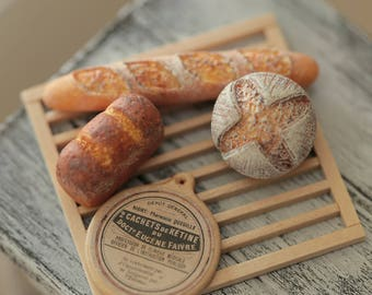 Miniature Food - Dollhouse Assorted Breads,baguette with handmade wooden Rustic Tray