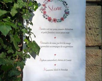banner menu fabric wedding