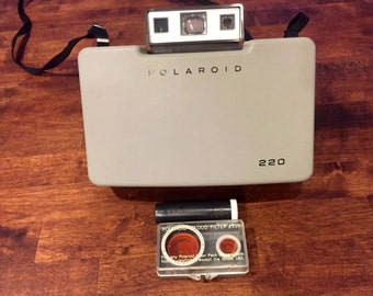 Vintage Polaroid Land Camera 220 with Cloud Filter #516 and Print Coater