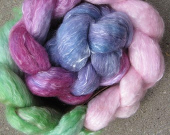 Handdyed fiber supersoft merino and tencel