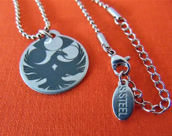 "Your Artwork or Custom Design Stainless Steel Round Pendant Necklace (7/8"") Your own personalized message In Computer Font Or Handwritten"