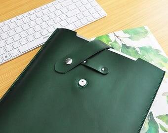 Green Leather Macbook Case,13 Macbook Sleeve,13 Macbook Air Case,Macbook Pro 13.3 Sleeve, Leather 13.3 Macbook Pro Case ,Macbook 13.3-ZL2006