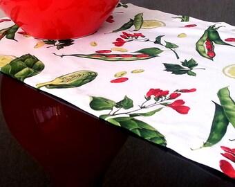 "78"" x 16"" Cotton Table Runner Artichoke, Beans Vegetables Cotton, Handmade Table Runner, Spring Table Decor"