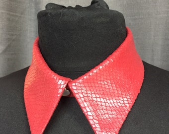Red Pleather Snakeskin Detachable Collar // Faux Leather Collar // Pleather Accessories //