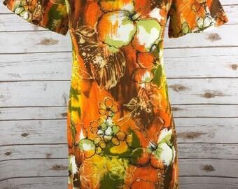 Vintage Hilo Hattie Fashions Evelyn Margolis Hawaiian Dress Barkcloth Orange Floral Hibiscus Brown Kimono Sleeve