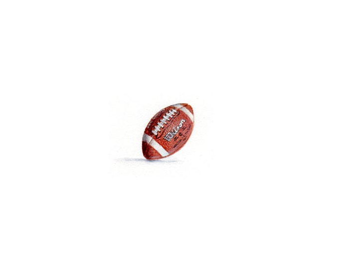 """LAST ONE Print of mini painting of a Wilson Football.  1 1/4"""" x 1 1/4"""" print of original Football painting on 5"""" square german etching paper"""