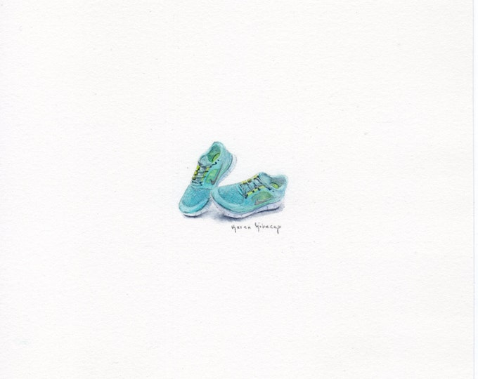 "Print of miniature painting of Blue Nike Shoes. 1 1/4"" x 1 1/4"" print of original Blue Nike Shoes painting on 5"" square german etching paper"