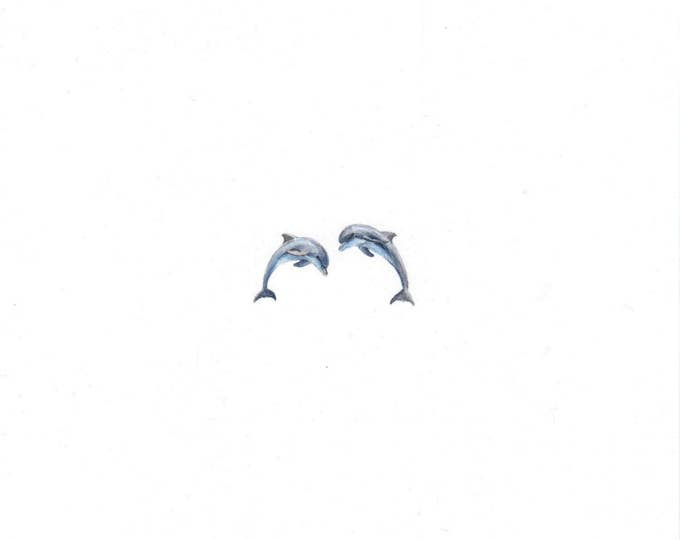 Original Miniature painting of Dolphins Jumping. Tiny painting, Dolphins Jumping tiny art 5 x 5