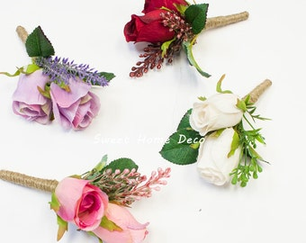 JennysFlowerShop Silk Rose Bud Wedding Boutonniere Groom and Groomsmen