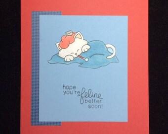 Hope You're Feline Better Soon Greeting Card