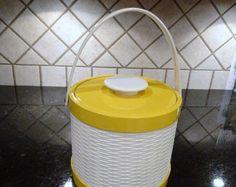 Mid Century Ice Bucket Yellow Vinyl and White Plastic Basket Weave by Elmar Mfg made in California |  Vintage Bar Ware | MCM Home Decor