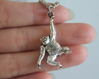 Ancient Silver monkey Necklace, Baby Monkey Necklace  32*27mm
