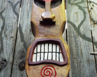Large Hand Carved Tiki Statue