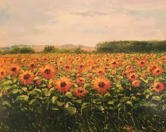 """Oil painting  sunflower printed on canvas 12""""*16"""" NO FRAME"""
