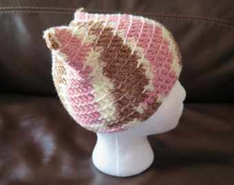 Adult Crochet Cat Ears Hat Kitty Hat Neapolitan Pink Brown Beige Custom Colours Available