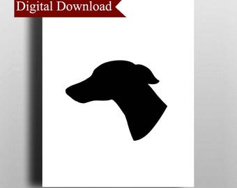 Whippet Dog Silhouette DIGITAL Print Download