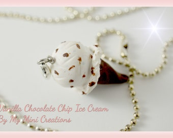 Vanilla Chocolate Chip Ice Cream Necklace , Miniature Food, Food Jewelry, Miniature Food Jewelry, Ice Cream Charm