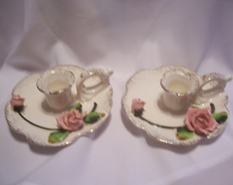 Pair of Lefton Candleholders with Roses, Japan