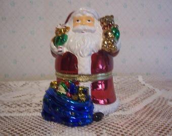 Santa Figurine with Musical Rotating Scene Inside