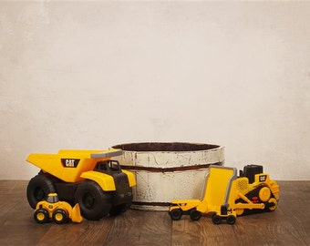 Digital Backdrop Construction Trucks Bucket for Sitters. One of a kind prop!