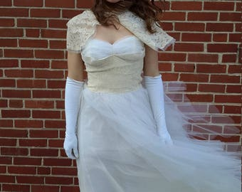 1950 wedding dress lace and tulle size 4  capelette from RCMooreVintage FREE SHIPPING