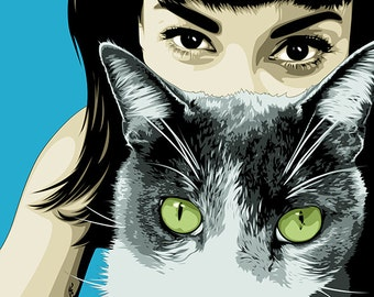 Gift For Cat Lovers-Custom Pet Portrait-Custom Cat Portrait-Cat illustration-Custom Cat Gifts-Personalized Pet Art-Pet Pop Art-Pet Portraits