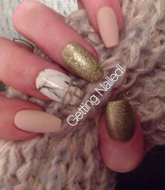 Nude matte nails marble nails glitter gold nails night out