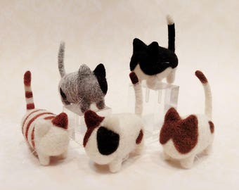 Adorable Needle Felted Kitten, Needle Felted Kitty Family (Set of 2 Kitties or more)