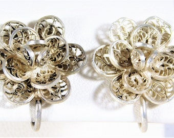 Antique Sterling Silver Flower Earrings