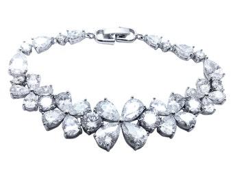 Shamrock simulated diamond bridal wedding occasion bracelet silver rhinestone crystals Irish lucky clover 4 leaf