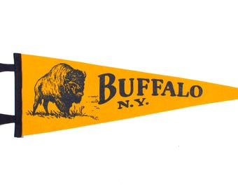 Illustrated Buffalo Pennant - Gold and Navy Blue